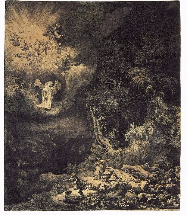 Rembrandt etching of shepherds
