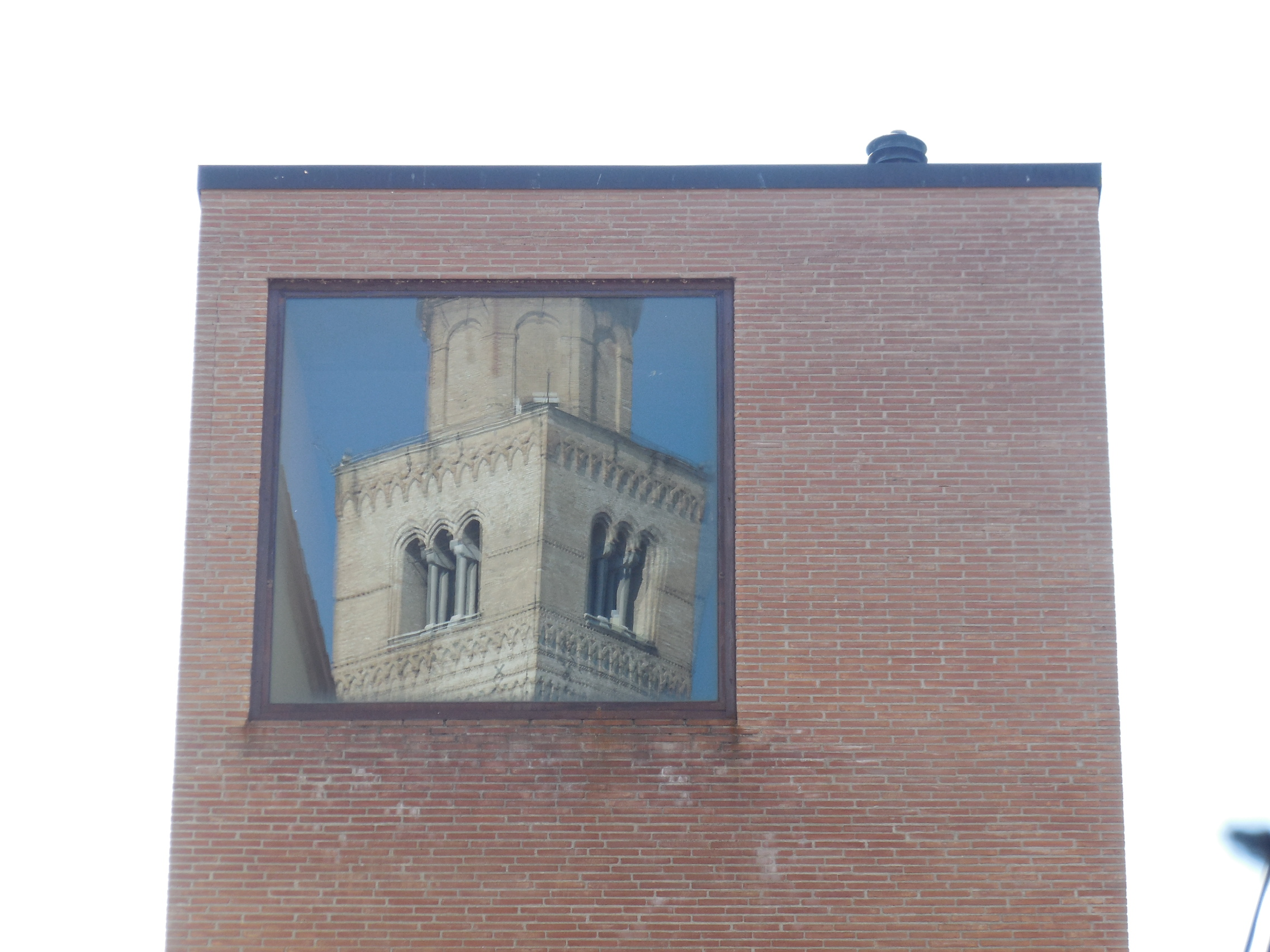 bell tower reflected